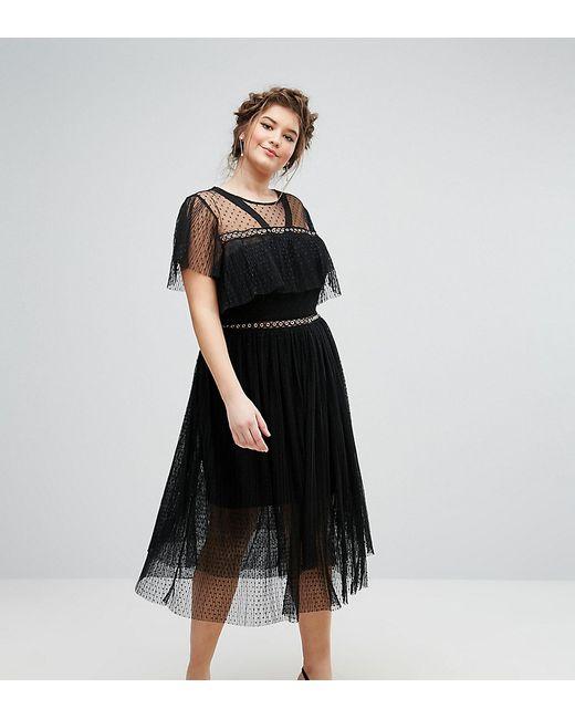 Truly You   Женское Чёрное Платье Из Тюля С Люверсами И Рюшами