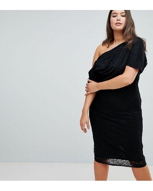49444a2d8b6 ASOS CURVE - Женское Чёрное Кружевное Платье Миди Со Складками На Плечах  Design Curve