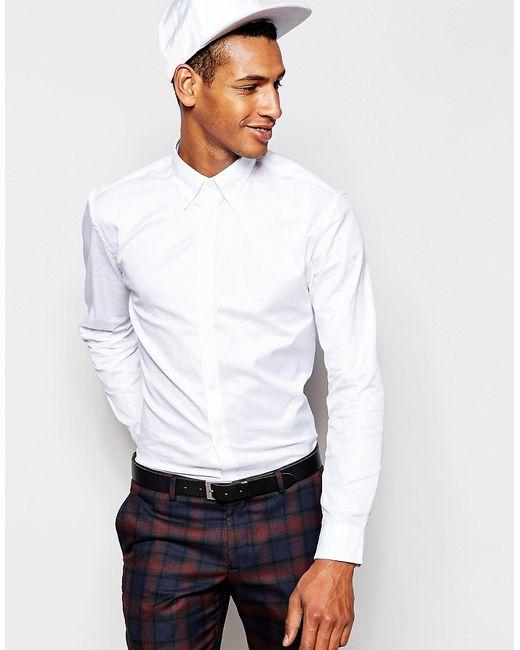 Selected Homme | Белая Рубашка Зауженного Кроя С Воротником На Пуговицах