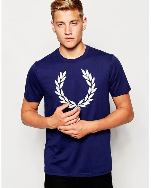 Fred Perry   Синий T-Shirt With Laurel Wreath Logo In French