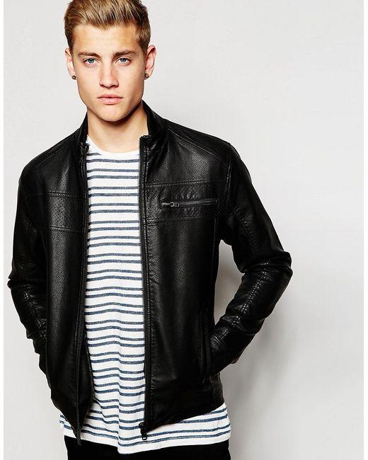 Jack & Jones | Чёрная Куртка Из Искусственной Зерненой Кожи Jack Jones