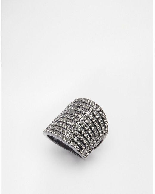 Lipsy   Gunmetal Black Diamond Mini Stones Ring