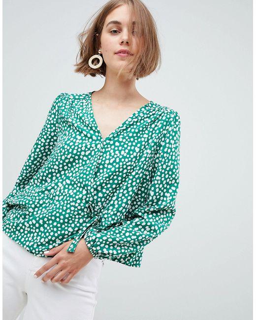 e76a3890365 Женская Зелёная Блузка В Горошек С Завязкой Monki 7646718