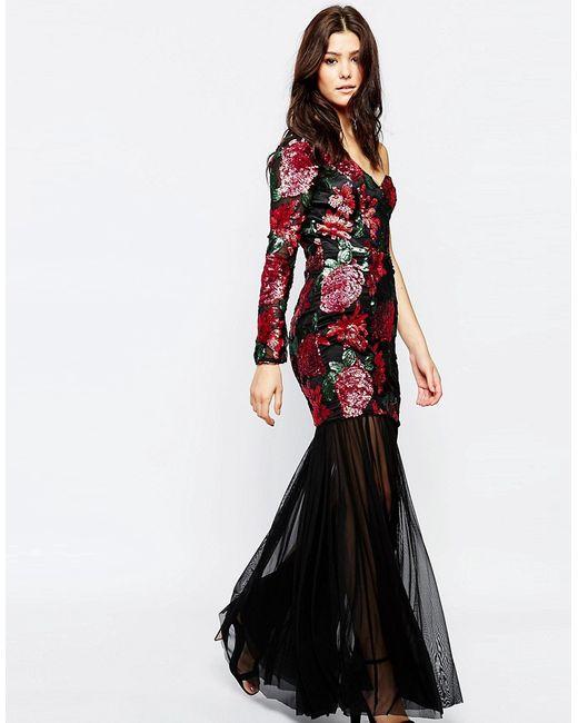 FOREVER UNIQUE | Женское Цветочное Платье Макси С Отделкой Пайетками Emma