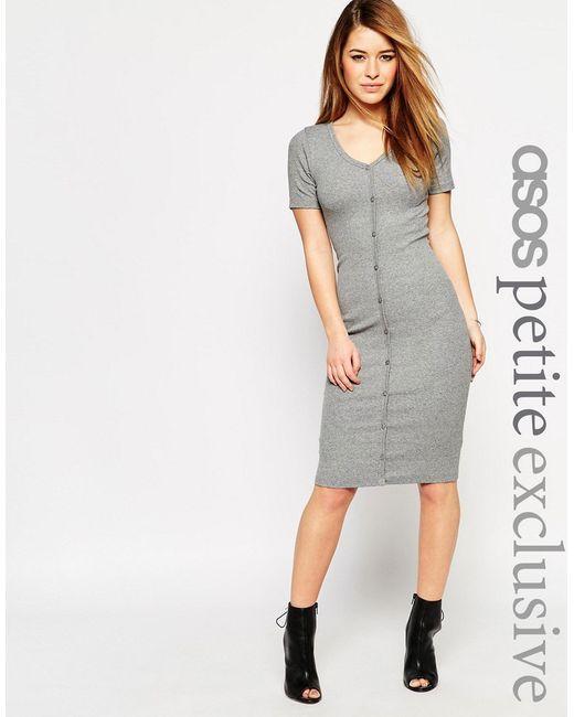 ASOS PETITE | Женское Серое Облегающее Платье В Рубчик На Пуговицах