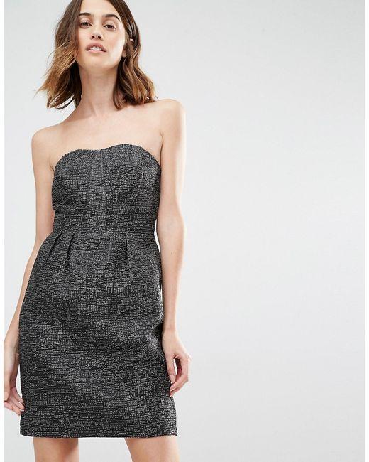 Vila | Женское Чёрное Платье Бандо Для Выпускного Черный