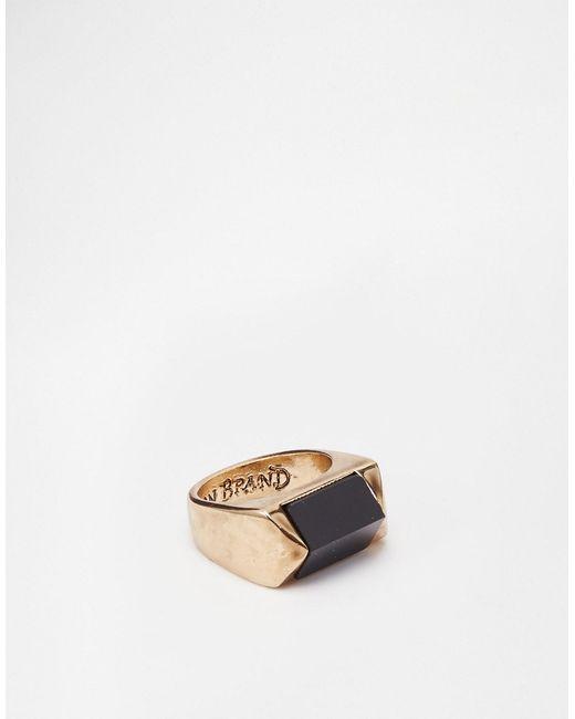 Icon Brand | Мужское Золотое Черное Кольцо С Призмой