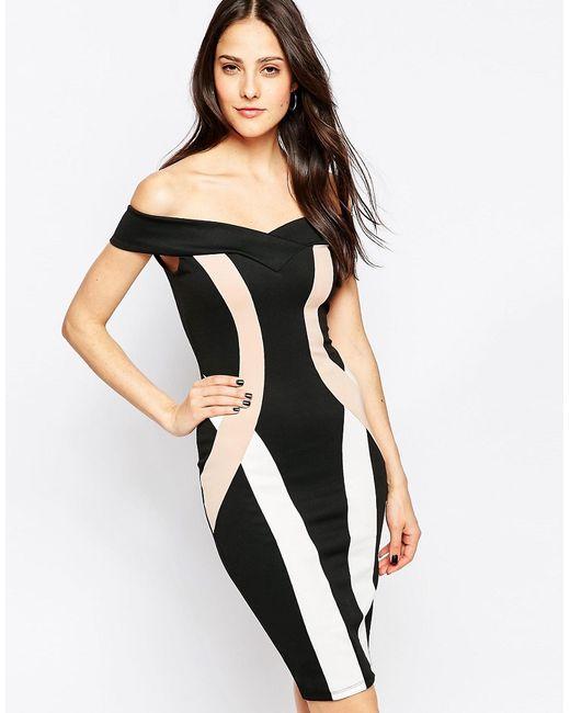 Jessica Wright   Женское Чёрное Черно-Белое Платье С Открытыми Плечами Phoebe