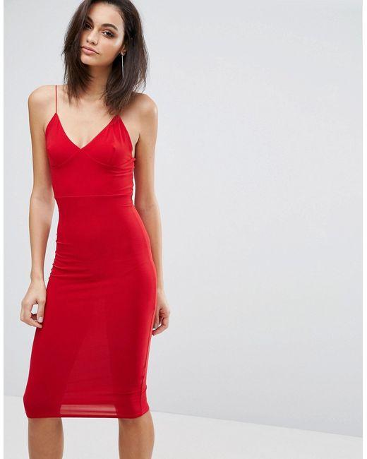 Club L | Женский Красный Платье-Миди С Бретельками