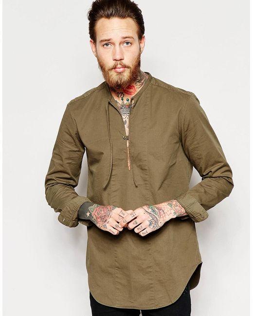 Asos | Мужская Хаки Рубашка Через Голову С Завязками Спереди Хаки