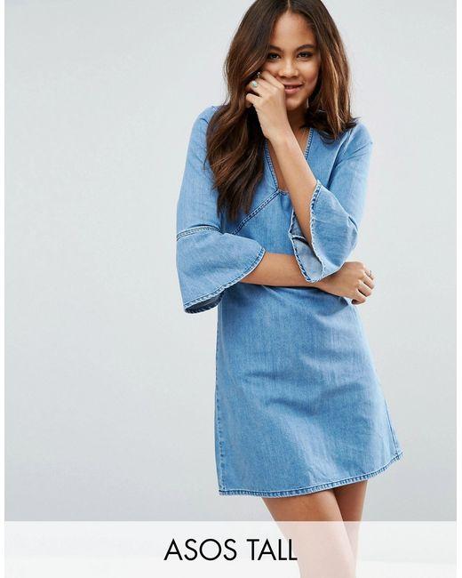ASOS TALL | Женское Средний Эффект Потёршее Джинсовое Цельнокройное Платье Мини С Рукавамирюш Средний