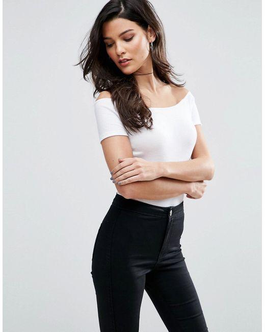 Asos | Женское Белый Боди С Открытыми Плечами И Короткими Рукавами