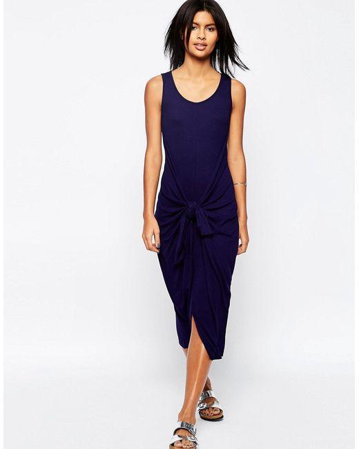 Asos   Женское Синее Платье В Рубчик С Завязывающимся Поясом Vesper