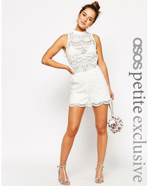 ASOS PETITE | Женские Белые Кружевные Шорты Premium Белый