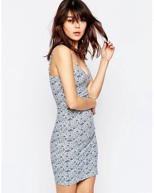 Asos   Женское Многоцветное Облегающее Платье Мини На Бретельках С Цветочным