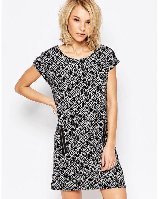 Qed London | Женское Чёрное Цельнокройное Платье С Карманами На Молнии И