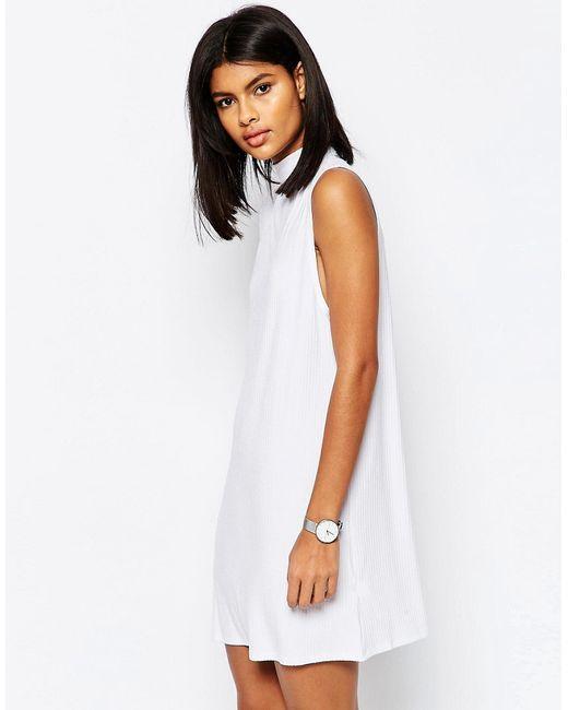 Asos | Женское Белое Платье С Глубокими Проймами В Рубчик Белый