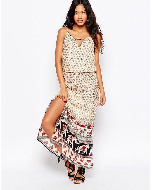 Anmol | Женское Многоцветное Пляжное Платье Макси С Принтом Слоны По