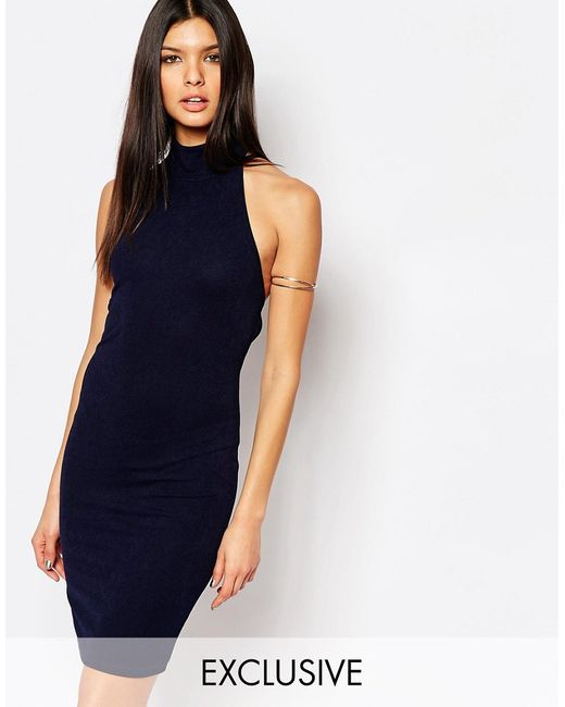 Club L | Женское Синее Платье Миди Из Крепа С Высоким Воротом