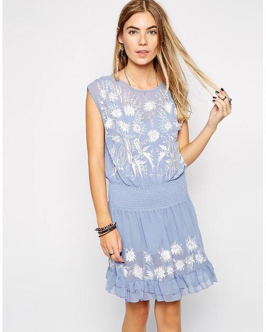 Free People   Женское Синее Платье Garden Bloom