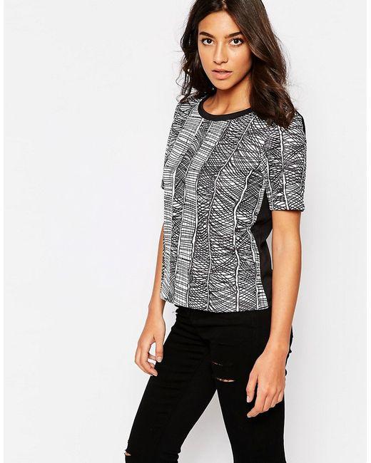 Y.A.S. | Женская Чёрная Рубашка С Короткими Рукавами И Принтом Y.A.S