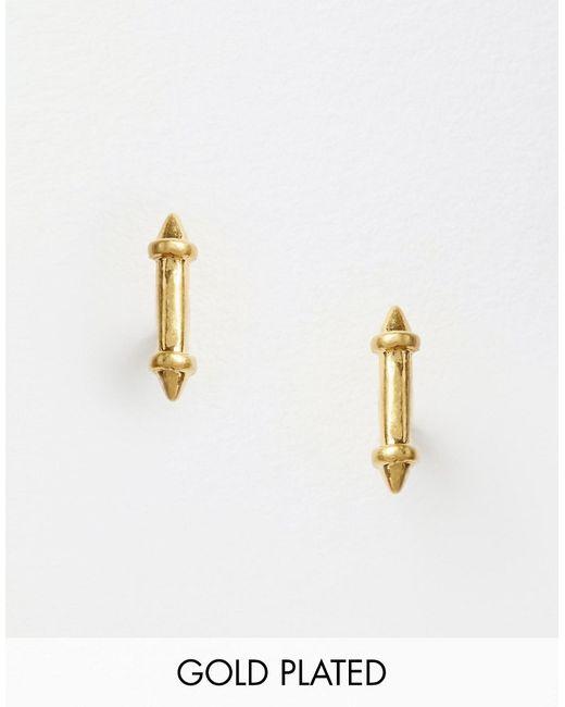 Pilgrim | Золотые Серьги-Гвоздики С Планкой
