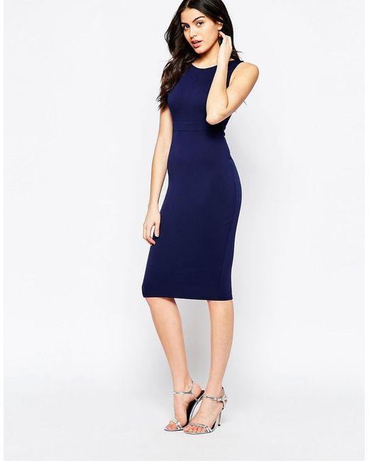 Twin Sister   Женское Синее Облегающее Платье Миди