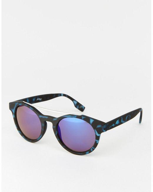 Jeepers Peepers | Синие Круглые Солнцезащитные Очки В Синей Черепаховой Оправе