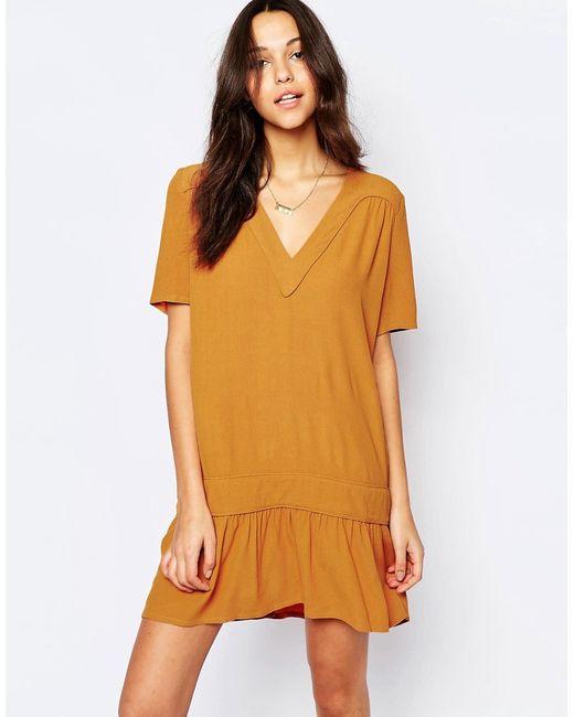 Ba&Sh | Женское Шафран Платье С Заниженной Талией И Vобразным Вырезом