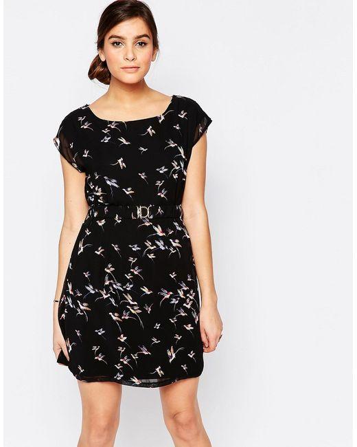 Pussycat London | Женское Чёрное Цельнокройное Платье С Птичьим Принтом
