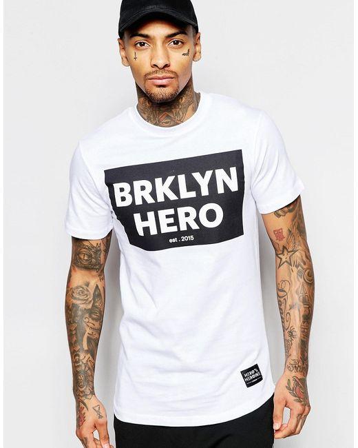 Heros Heroine | Мужская Белая Футболка С Принтом Bklyn Hero Heros Heroine