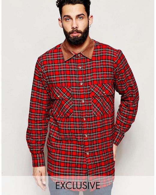 Reclaimed Vintage | Мужская Красная Рубашка В Крупную Клетку С Вельветовым Воротником