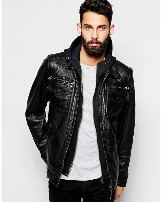 Schott | Мужская Чёрная Кожаная Куртка С Капюшоном Черный