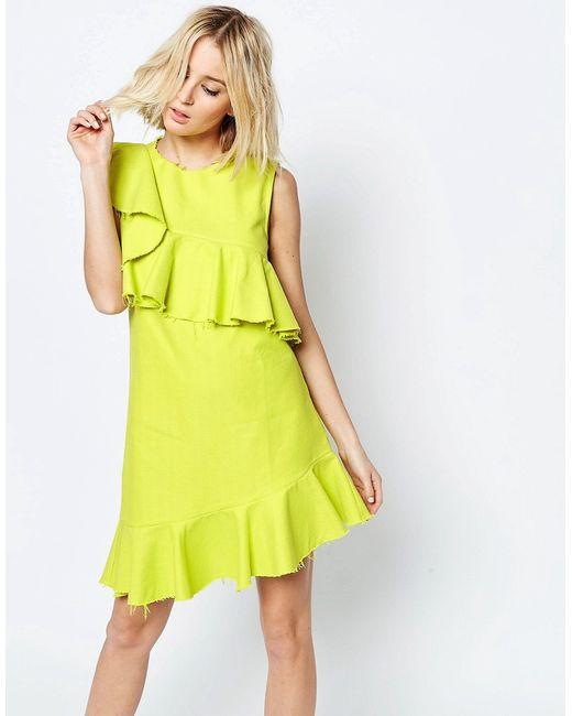 Asos | Женское Жёлтое Фактурное Цельнокройное Платье С Необработанным Краем Желтый