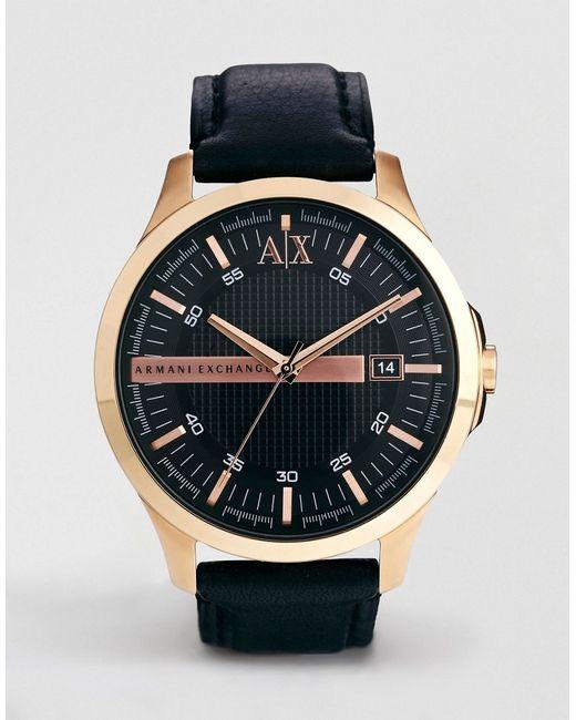 ARMANI EXCHANGE | Мужские Чёрные Часы С Черным Кожаным Ремешком Ax2129 Черный