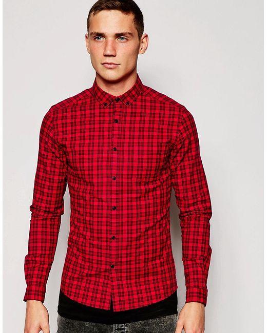 Asos   Мужская Красная Зауженная Рубашка В Клетку С Длинными Рукавами