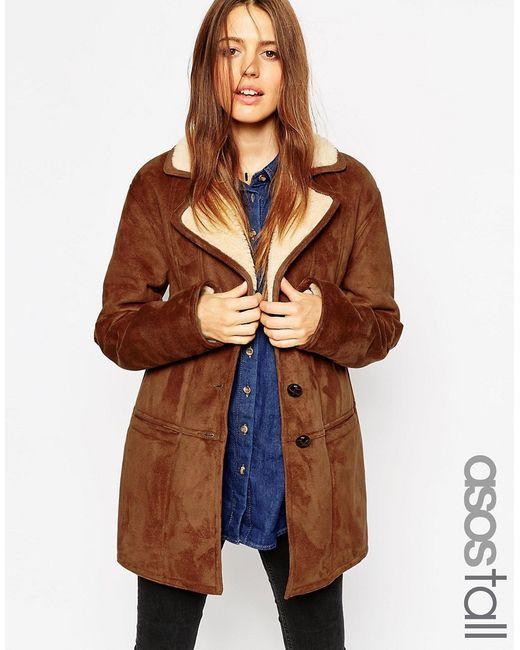 ASOS TALL | Мужское Рыжее Пальто Из Искусственной Овечьей Шерсти Со Вставками