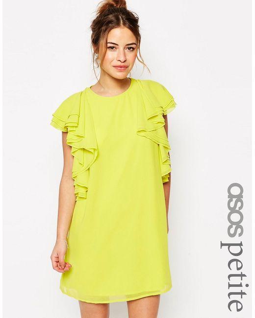 ASOS PETITE | Женское Жёлтое Цельнокройное Платье Мини С Рюшами Желтый