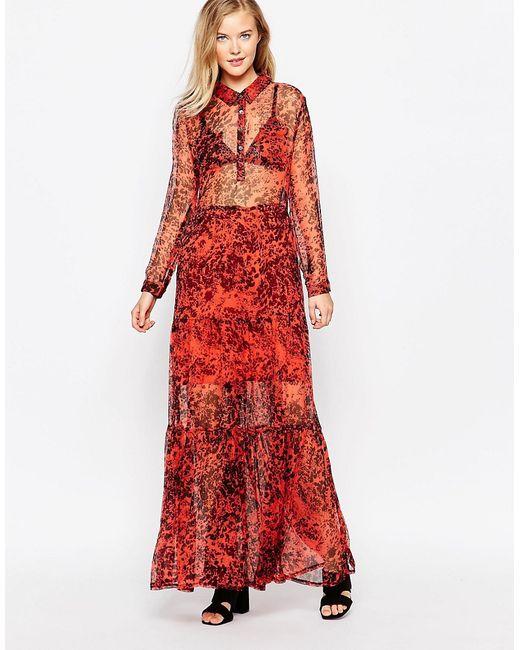 Ganni | Женское Красное Платье Макси C Полевыми Цветами