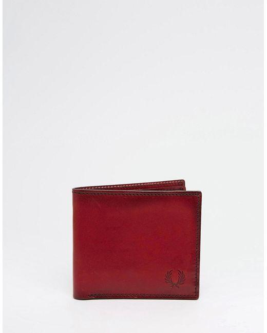 Fred Perry | Чёрный Кожаный Бумажник С Геометрическим Дизайном
