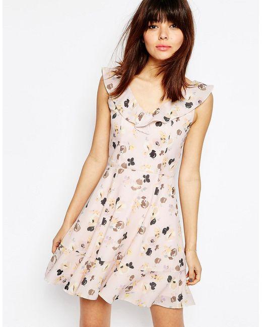 Asos | Женское Розовое Платье Мини С Рюшами И Цветочным Принтом