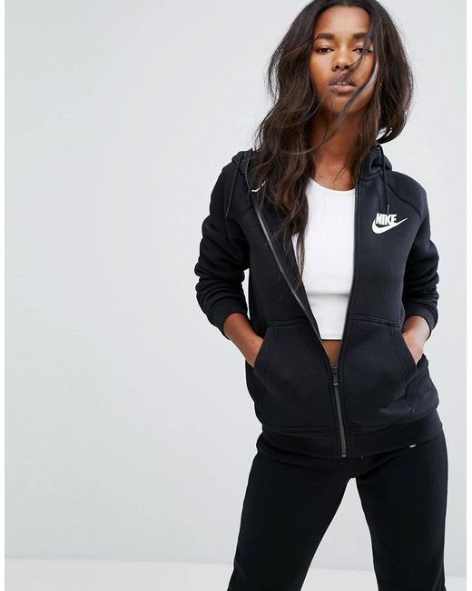 Nike | Женские Чёрные Худи На Молнии Rally