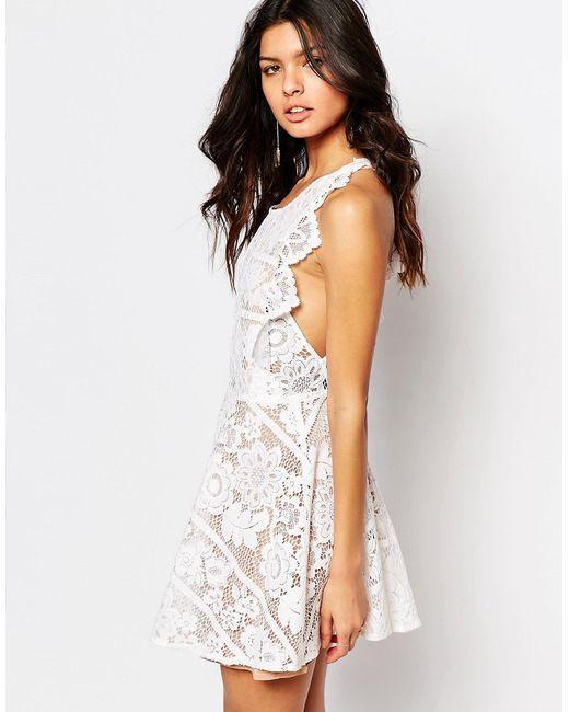 For Love & Lemons | Женское Белое Белое Кружевное Платье Мини С Открытой Спиной