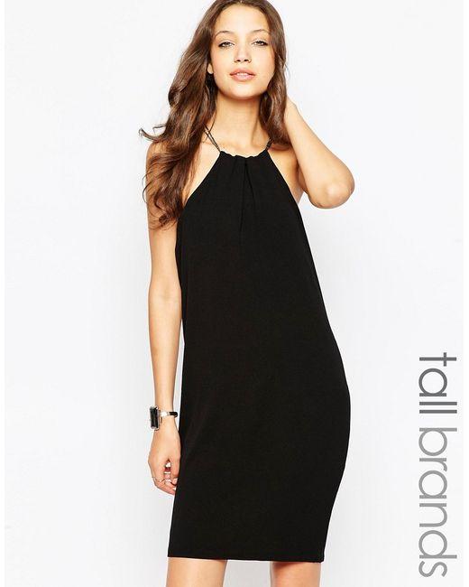 Vero Moda | Женское Чёрное Платье Мини С Бретелью-Цепочкой Через Шею Tall