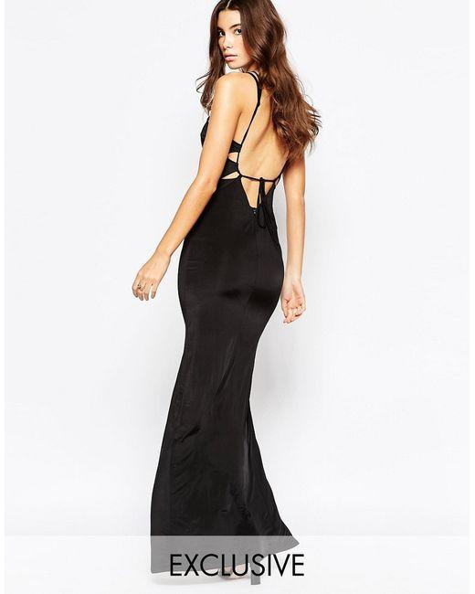 NaaNaa | Женское Чёрное Платье Макси С Открытой Спинкой Черный