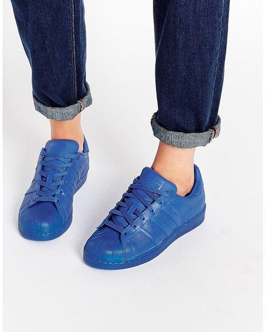 Adidas | Женские Синие Кроссовки Originals Superstar Super Colour
