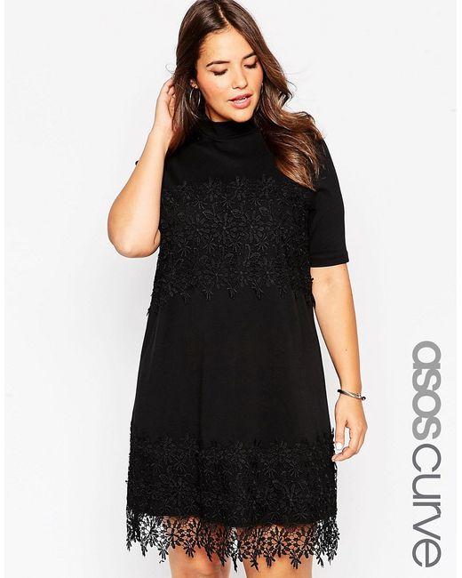 ASOS CURVE | Женское Чёрное Свободное Хлопковое Платье С Кружевной Отделкой