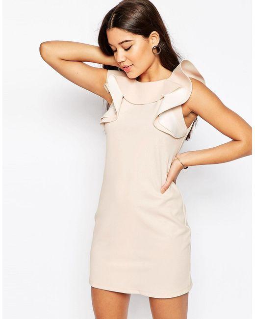 Asos | Женское Телесное Цельнокройное Платье С Оборкой На Горловине Телесный