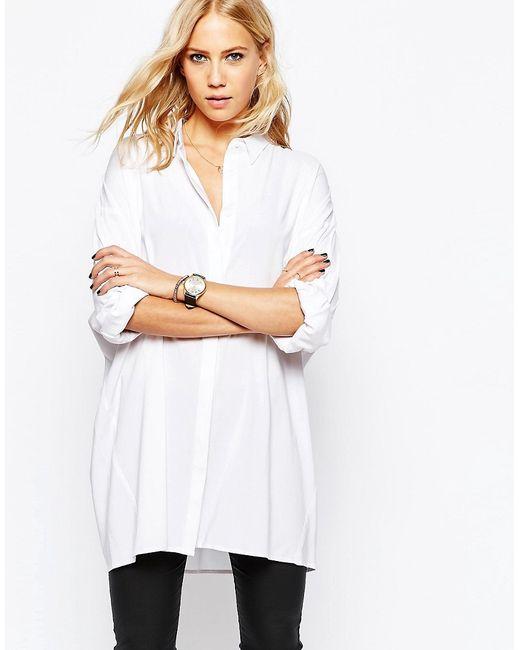Just Female   Женская Белая Длинная Белая Рубашка Jo