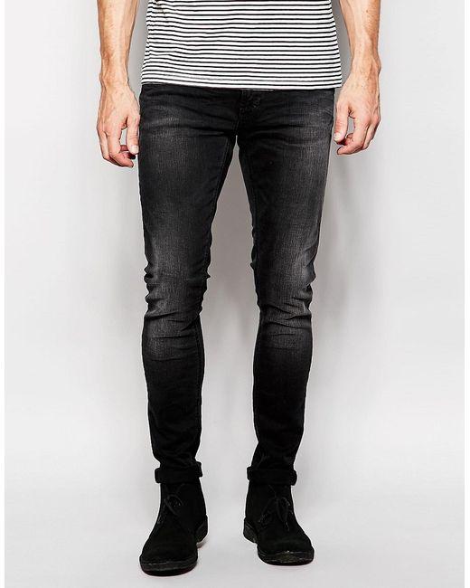Nudie Jeans Co | Мужские Туманная Дымки Супероблегающие Черные Джинсы Nudie Jeans
